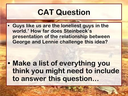 how does steinbeck s george and lennie to convey ideas about america in the 1930 s The contrast between george and lennie's friendship with the lonely existence of the other men on the ranch  how does steinbeck show this george and lennie are the only characters in the .