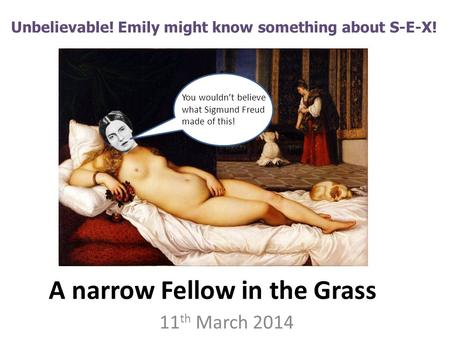 A narrow Fellow in the Grass 11 th March 2014 Unbelievable! Emily might know something about S-E-X! You wouldn't believe what Sigmund Freud made of this!