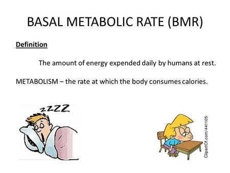 BASAL METABOLIC RATE (BMR) Definition The amount of energy expended daily by humans at rest. METABOLISM – the rate at which the body consumes calories.