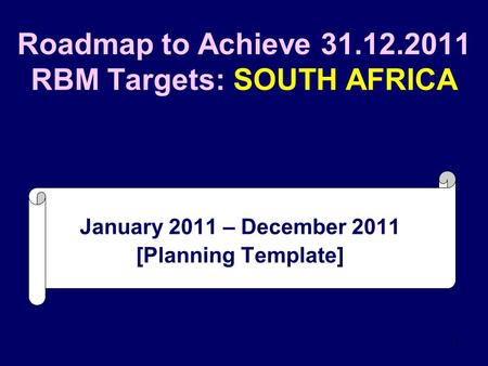 1 Roadmap to Achieve 31.12.2011 RBM Targets: SOUTH AFRICA January 2011 – December 2011 [Planning Template]