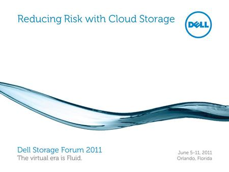 Reducing Risk with Cloud Storage. Dell Storage Forum 2011 Storage 2 Dells' Definition of Cloud Demand driven scalability: up or down, just happens Metered:
