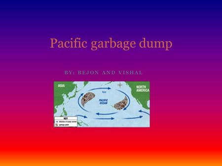 BY: BEJON AND VISHAL Pacific garbage dump. Introduction. The subject about this is about animals dying and the cause. There are three main causes that.