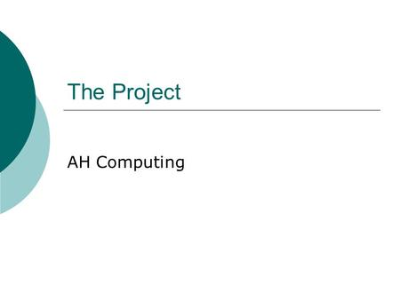 The Project AH Computing. Functional Requirements  What the product must do!  Examples attractive welcome screen all options available as clickable.