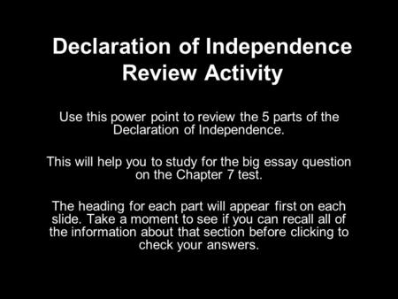 Declaration of Independence Review Activity