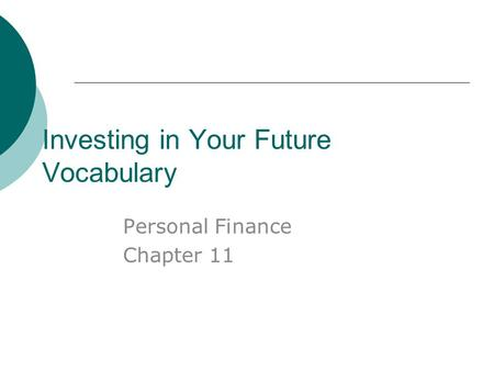 Investing in Your Future Vocabulary