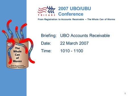 From Registration to Accounts Receivable – The Whole Can of Worms 2007 UBO/UBU Conference 1 Briefing: UBO Accounts Receivable Date: 22 March 2007 Time: