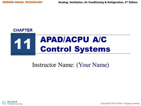 Copyright © 2014 Delmar, Cengage Learning APAD/ACPU A/C Control Systems Instructor Name: (Your Name) 11 CHAPTER.