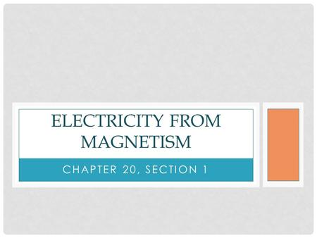 CHAPTER 20, SECTION 1 ELECTRICITY FROM MAGNETISM.