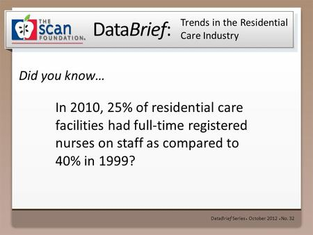 DataBrief: Did you know… DataBrief Series ● October 2012 ● No. 32 Trends in the Residential Care Industry In 2010, 25% of residential care facilities had.