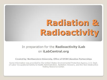 Radiation & Radioactivity