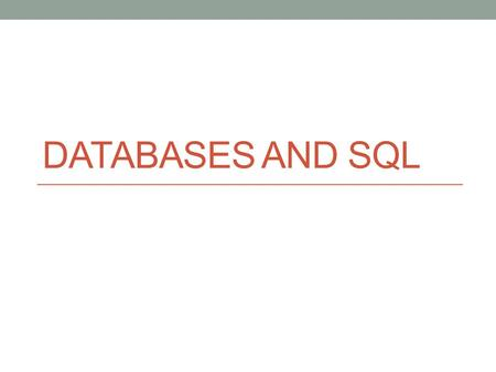 DATABASES AND SQL. Introduction Relation: Relation means table(data is arranged in rows and columns) Domain : A domain is a pool of values appearing in.
