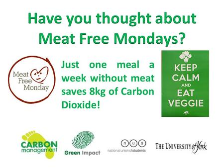 Just one meal a week without meat saves 8kg of Carbon Dioxide!
