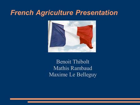 French Agriculture Presentation Benoit Thibolt Mathis Rambaud Maxime Le Belleguy.