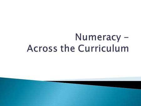 'Numeracy is a proficiency which is developed not just in mathematics but also in other subjects. It is more than an ability to do basic arithmetic. It.