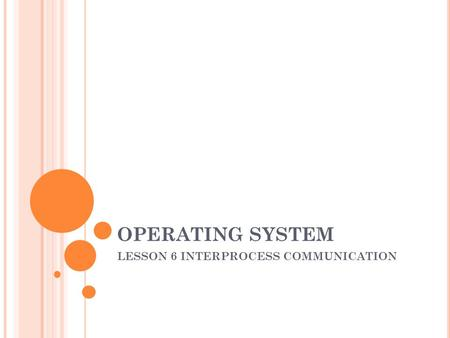 OPERATING SYSTEM LESSON 6 INTERPROCESS COMMUNICATION.