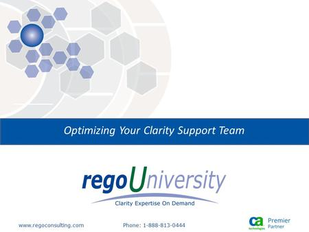 Www.regoconsulting.comPhone: 1-888-813-0444 Optimizing Your Clarity Support Team.