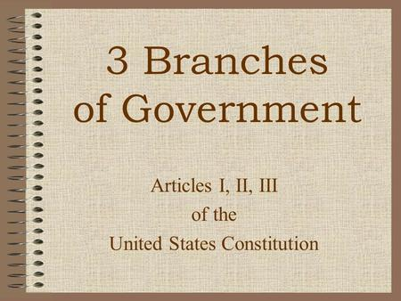 Articles I, II, III of the United States Constitution 3 Branches of Government.