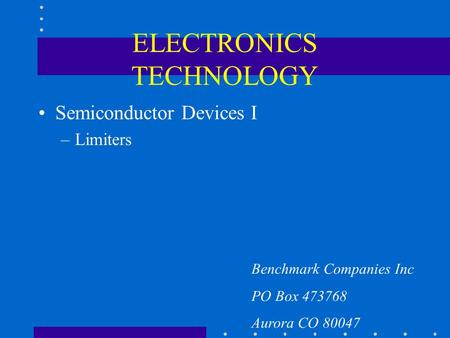 ELECTRONICS TECHNOLOGY