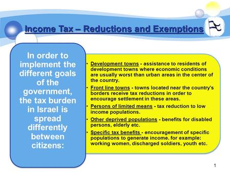 1 Income Tax – Reductions and Exemptions Development towns - assistance to residents of development towns where economic conditionsare usually worst than.