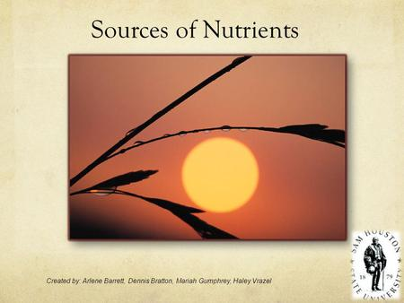 Sources of Nutrients Created by: Arlene Barrett, Dennis Bratton, Mariah Gumphrey, Haley Vrazel.