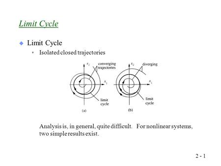  Limit Cycle Isolated closed trajectories Analysis is, in general, quite difficult. For nonlinear systems, two simple results exist. Limit Cycle 2 - 1.