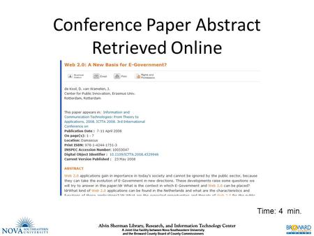 Conference Paper Abstract Retrieved Online Time: 4 min.