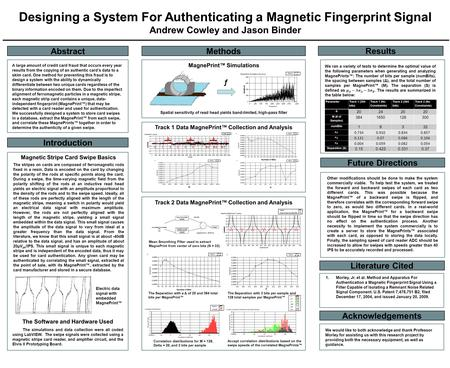 Designing a System For Authenticating a Magnetic Fingerprint Signal Andrew Cowley and Jason Binder Abstract Methods Introduction Results Future Directions.