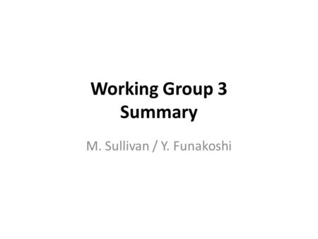 Working Group 3 Summary M. Sullivan / Y. Funakoshi.
