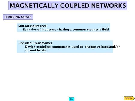 MAGNETICALLY COUPLED NETWORKS
