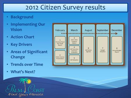 2012 Citizen Survey results Background Implementing Our Vision Action Chart Key Drivers Areas of Significant Change Trends over Time What's Next?