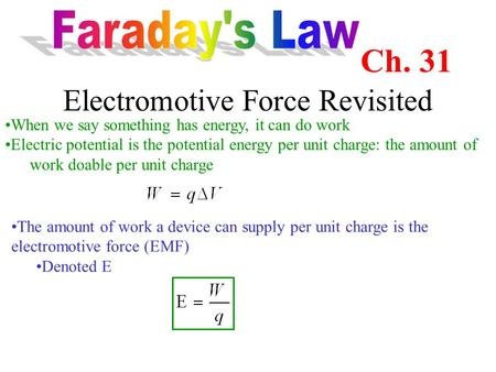 Electromotive Force Revisited When we say something has energy, it can do work Electric potential is the potential energy per unit charge: the amount of.