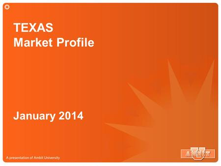 TEXAS Market Profile January 2014. TEXAS Market Market Size: $24 Billion Potential Market 7.1 Million Potential Customers.