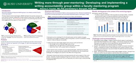 Writing more through peer-mentoring: Developing and implementing a writing accountability group within a faculty mentoring program Kharma C. Foucher, MD,