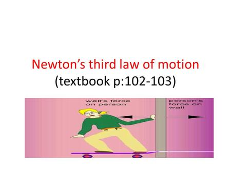 Newton's third law of motion (textbook p: )