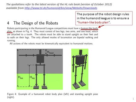 "The purpose of the robot design rules in the humanoid league is to ensure a ""human-like body plan"". The quotations refer to the latest version of the HL."