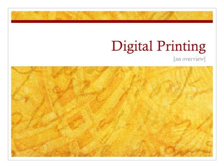 "Digital Printing [an overview]. Giclée vs. Archival Inkjet ""Giclée"" is French for ""to spray"" Both are fine art terms used interchangeably Giclée prints."