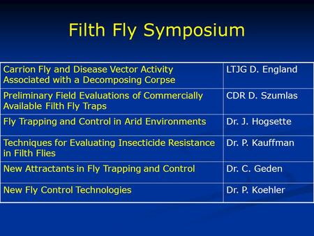 Filth Fly Symposium Carrion Fly and Disease Vector Activity Associated with a Decomposing Corpse LTJG D. England Preliminary Field Evaluations of Commercially.