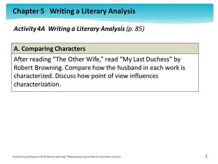 Activity 4A  Writing a Literary Analysis (p. 85)