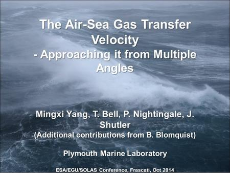The Air-Sea Gas Transfer Velocity - Approaching it from Multiple Angles Mingxi Yang, T. Bell, P. Nightingale, J. Shutler (Additional contributions from.