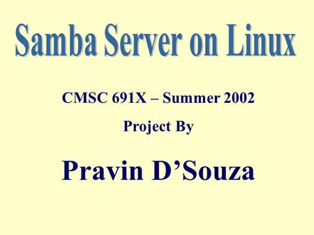 CMSC 691X – Summer 2002 Project By Pravin D'Souza.