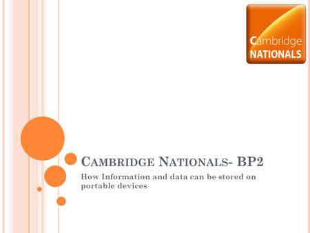 C AMBRIDGE N ATIONALS - BP2 How Information and data can be stored on portable devices.