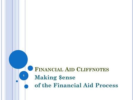 F INANCIAL A ID C LIFFNOTES Making $ense of the Financial Aid Process 1.