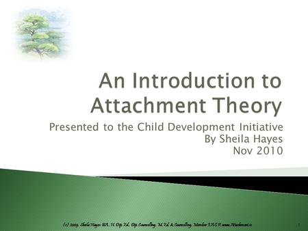 (c) 2009. Sheila Hayes: BA., H. Dip. Ed., Dip. Counselling, M. Ed. & Counselling, Member I.A.C.P. www.Attachment.ie Presented to the Child Development.
