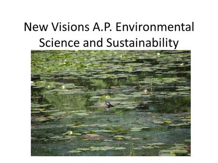 New Visions A.P. Environmental Science and Sustainability.