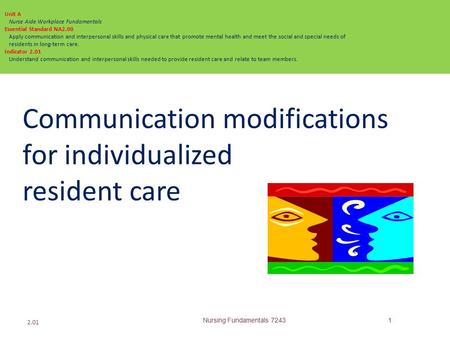 Communication modifications for individualized resident care Nursing Fundamentals 72431 2.01 Unit A Nurse Aide Workplace Fundamentals Essential Standard.
