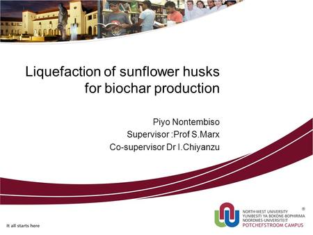 Liquefaction of sunflower husks for biochar production Piyo Nontembiso Supervisor :Prof S.Marx Co-supervisor Dr I.Chiyanzu.