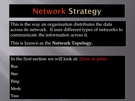 This is the way an organisation distributes the data across its network. It uses different types of networks to communicate the information across it.