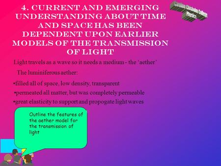 4. Current and emerging understanding about time and space has been dependent upon earlier models of the transmission of light Light travels as a wave.
