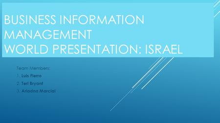 BUSINESS INFORMATION MANAGEMENT WORLD PRESENTATION: ISRAEL Team Members: 1. Luis Fierro 2. Teri Bryant 3. Ariadna Marcial.
