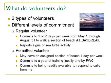 What do volunteers do? 2 types of volunteers Different levels of commitment  Regular volunteer Commits to 1 or 2 days per week from May 1 through August.